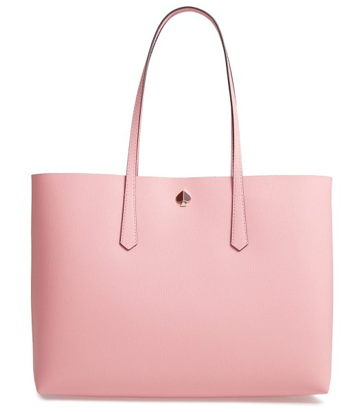 Kate Spade New York large molly leather tote in pink - Richly pebbled leather and signature gleaming hardware...