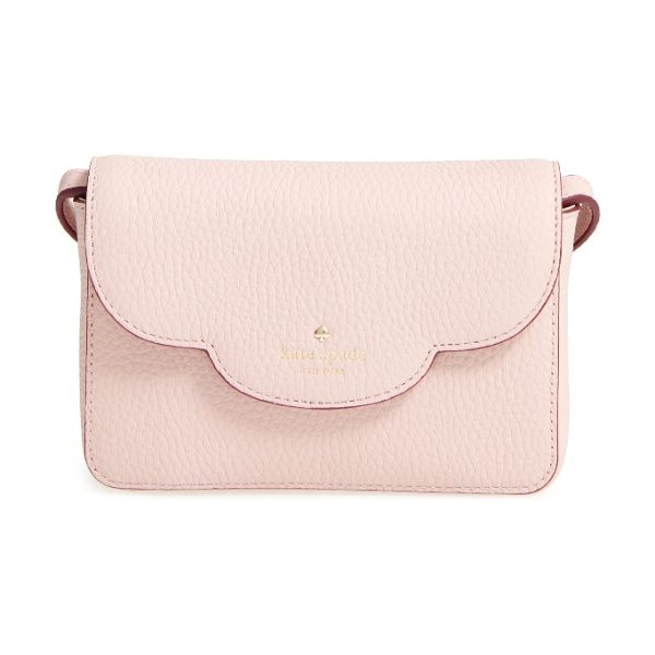KATE SPADE NEW YORK leewood place joley leather crossbody bag - A scalloped flap adds a sweet touch to a tiny crossbody...