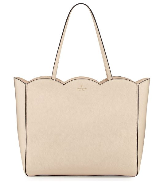 Kate Spade New York leewood place rainn scalloped tote bag in neutral pattern - kate spade new york pebbled leather tote bag with...
