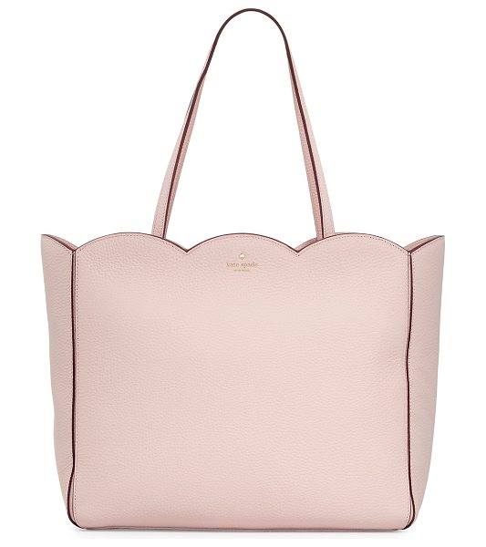 Kate Spade New York leewood place rainn scalloped tote bag in pink pattern - kate spade new york pebbled leather tote bag with...