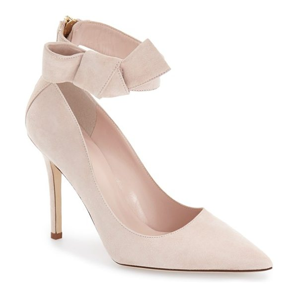 Kate Spade New York levie pointy toe pump in pale blush suede - A casually knotted bow pretties up the ankle strap of a...