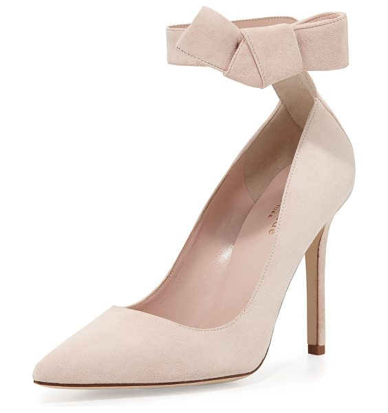 "Kate Spade New York Levie suede ankle-strap pump in pale blush - kate spade new york suede pump. 4"" covered heel. Pointed..."