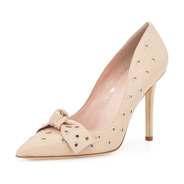 Kate Spade New York Lia grommet-studded pump in pumice - kate spade new york grommet-studded napa leather pump....