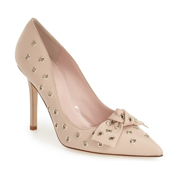 Kate Spade New York lia pointy toe pump in pumice leather - Polished grommet hardware illuminates the timeless...