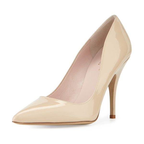 "KATE SPADE NEW YORK licorice patent leather point-toe pump - kate spade new york pump in patent leather. 4"" covered..."