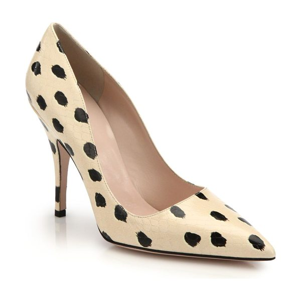 KATE SPADE NEW YORK Licorice spotted snake-embossed leather pumps - These chic pumps play with graphics and texture, setting...