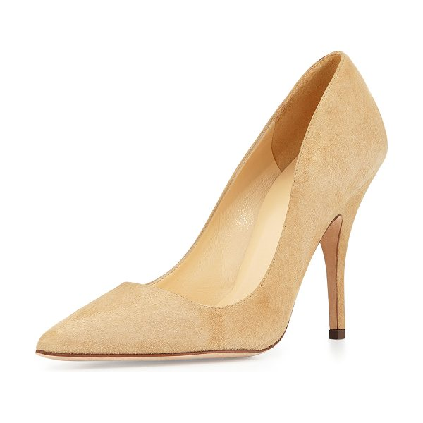 "Kate Spade New York licorice suede point-toe pumps in light camel - kate spade new york ""licorice"" suede pump. 4"" covered..."