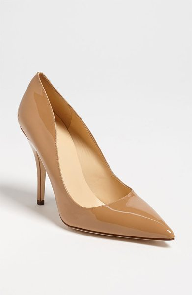 KATE SPADE NEW YORK 'licorice too' pump in new camel patent - A low-cut topline livens up a pretty pump finished with...