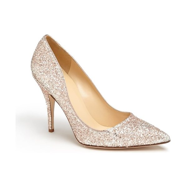 Kate Spade New York licorice too pump in rose gold glitter - A low-cut topline livens up a pretty pump finished with...