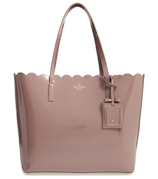 Kate Spade New York Lily avenue patent in porcini/ rose taupe - A scalloped topline and glossy patent leather intensify...