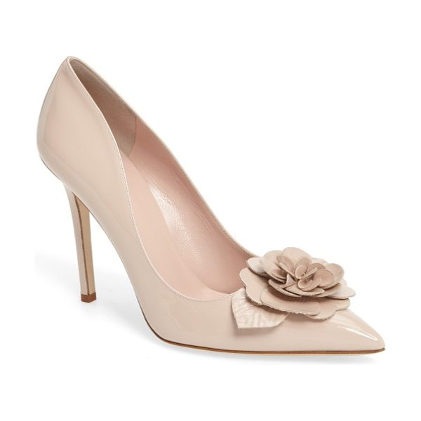 Kate Spade New York linden pump in pale blush patent - A showstopping dimensional flower blooms above the...