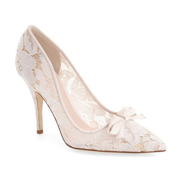 KATE SPADE NEW YORK 'lisa' pump in blush lace - Contrast trim traces the topline of a...
