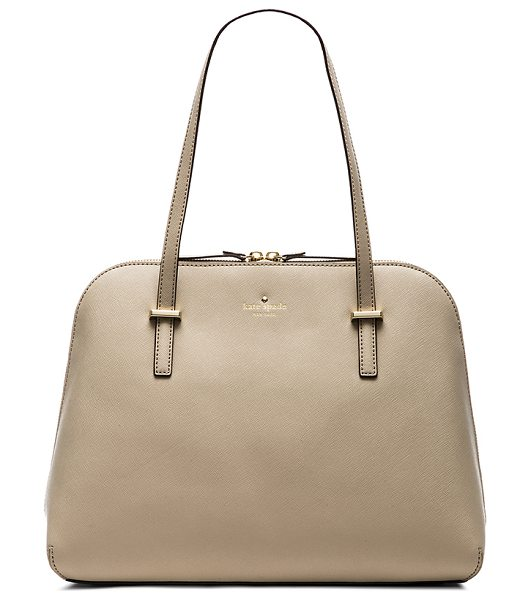 KATE SPADE NEW YORK Maise shoulder bag in beige - Leather exterior with jacquard fabric lining. Measures...