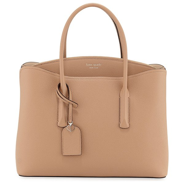Kate Spade New York margaux large leather satchel bag in light brown