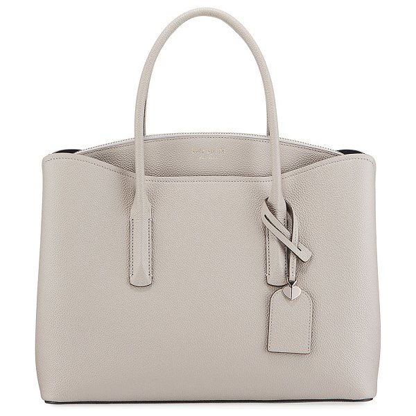 Kate Spade New York margaux large leather satchel bag in taupe
