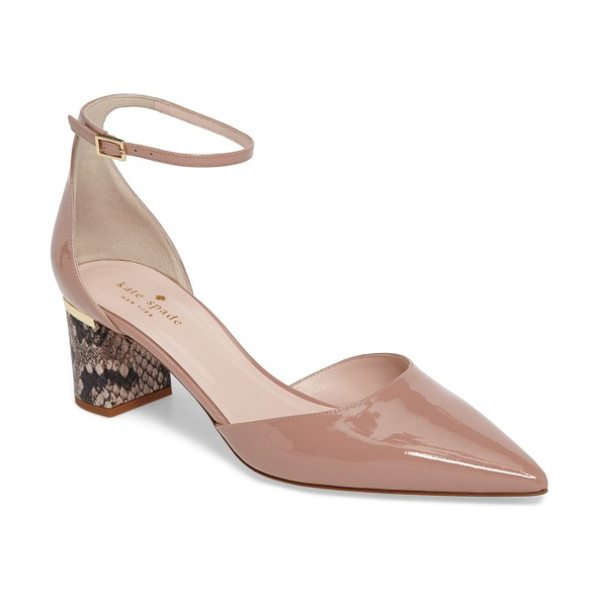 Kate Spade New York marylou pump in fawn patent blush/ black - A snakeskin-print block heel lends unmistakable edge to...