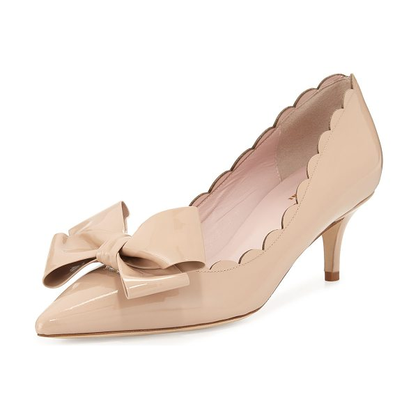 "Kate Spade New York maxine patent scalloped bow pump in powder patent - kate spade new york classic patent leather pump. 2.3""..."