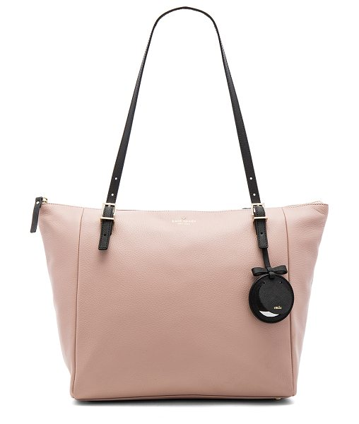 Kate Spade New York Maya Tote in toasted wheat - Leather exterior with jacquard fabric lining. Zip top...