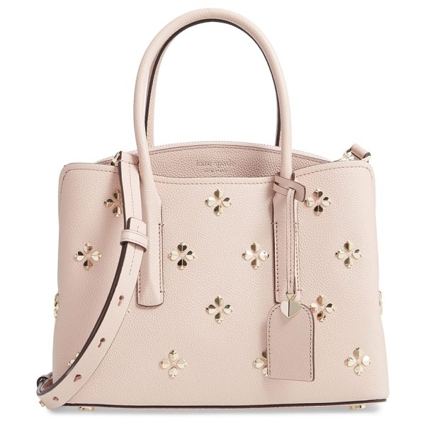 Kate Spade New York medium margaux embellished leather satchel in pink - Dimensional blossoms shaped from signature spade...