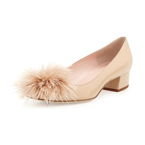 "Kate Spade New York melinda patent feather pump in powder - kate spade new york patent leather pump. 1.3"" covered..."