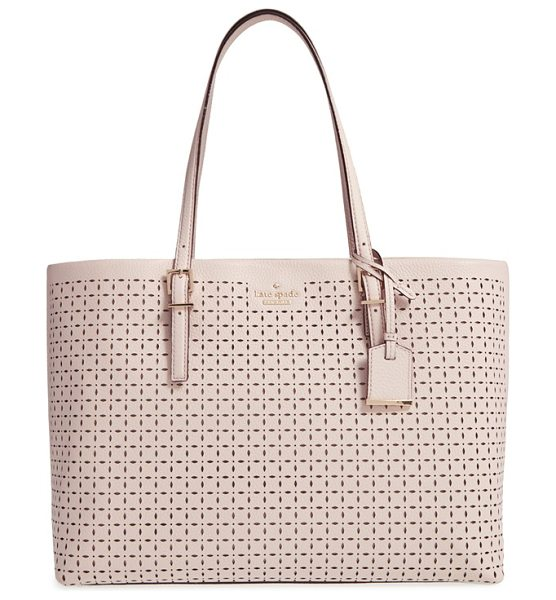 KATE SPADE NEW YORK Milton lane in pumice - Perforated pebbled leather lends a fresh look to a chic,...