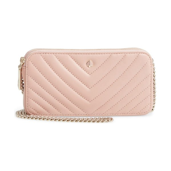 Kate Spade New York mini amelia leather clutch in pink - Crafted from chevron-quilted lambskin leather, this...
