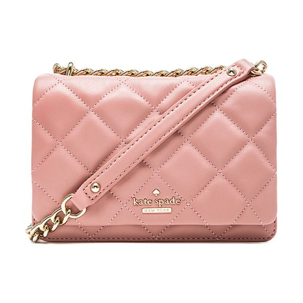 Kate Spade New York Mini vivenna crossbody bag in pink - Quilted leather exterior with jacquard fabric lining....