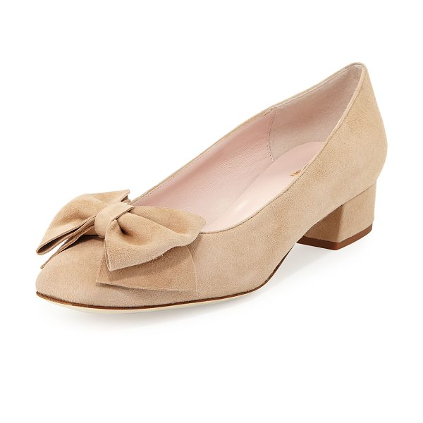 "KATE SPADE NEW YORK molly suede low-heel bow pump in sand - kate spade new york suede pump. 1.3"" covered block heel...."
