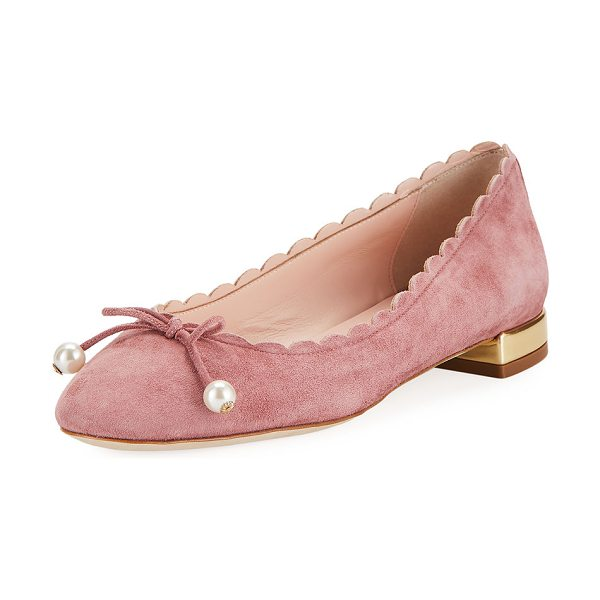 """Kate Spade New York murray scalloped pearly-bow flat in vintage pink - kate spade new york suede ballerina flat. 0.5"""" flat..."""