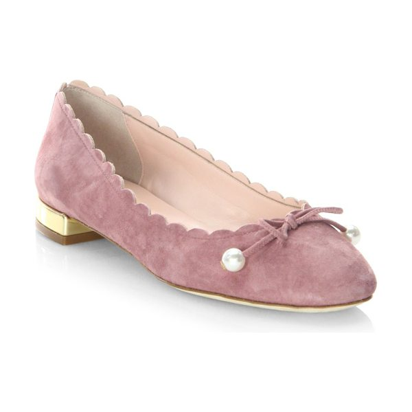KATE SPADE NEW YORK murray vintage leather ballet flats - Ballet flats featuring a scalloped trim design. Stacked...