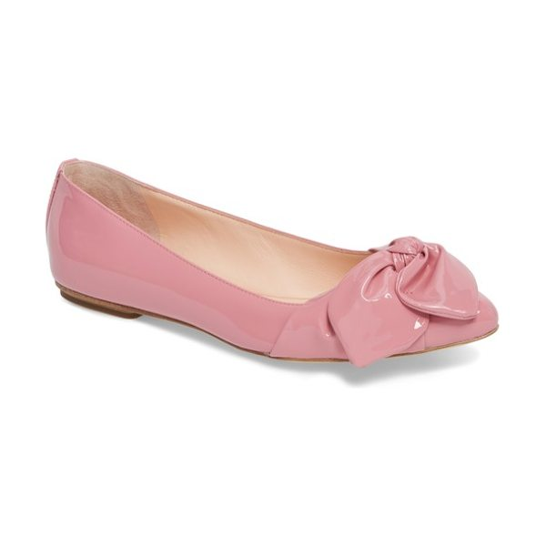 KATE SPADE NEW YORK nancy bow flat in parisian pink patent - A casually knotted bow wraps the pointed toe of a...