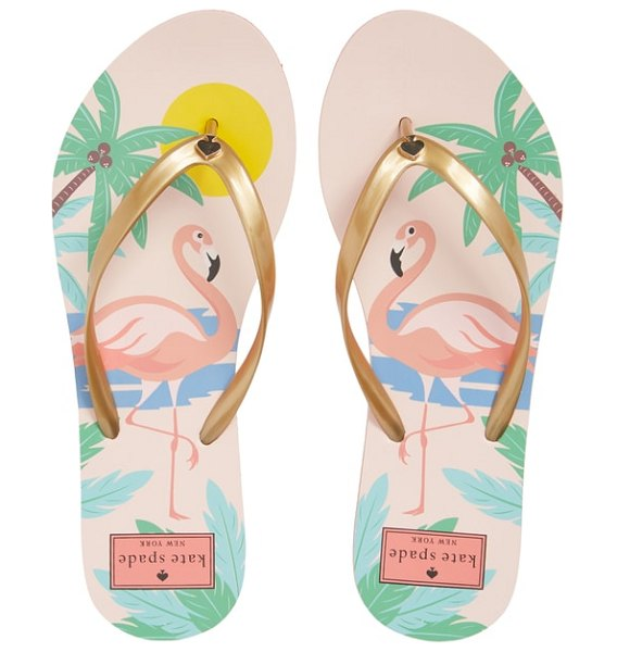 Kate Spade New York 'nassau' flip flop in metallic gold - A breezy flip-flop set on a tropical-print footbed can...