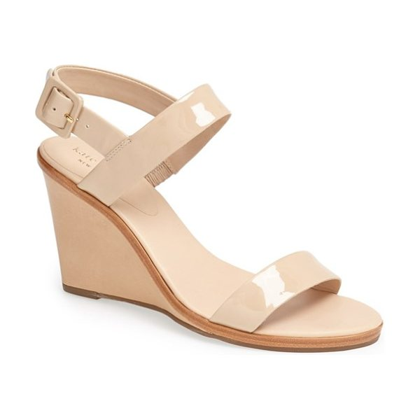 KATE SPADE NEW YORK nice sandal in powder patent - Bold, sleek straps create a mod aesthetic atop a...