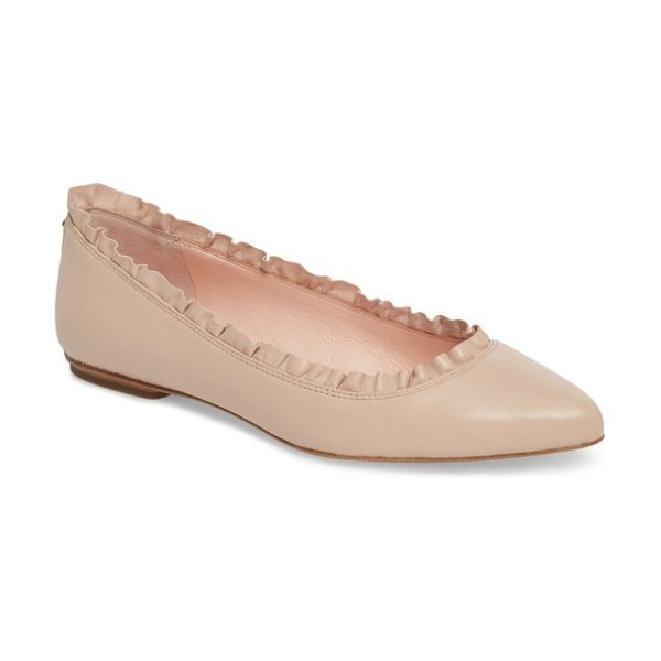 Kate Spade New York nicole flat in ballet pink nappa - Dainty ruffles trim the topline of a classic ballet...