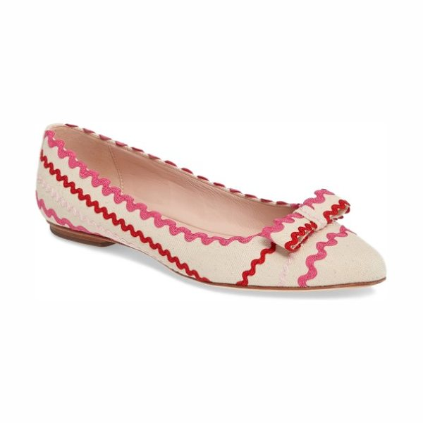Kate Spade New York noreen flat in natural - Wavy rickrack trim adds festive charm to a chic...