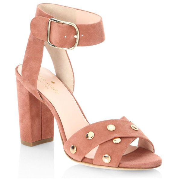"Kate Spade New York oakwood cumin sandals in cumin - Sandals accented with nailhead trim. Stacked heel, 3.5""..."