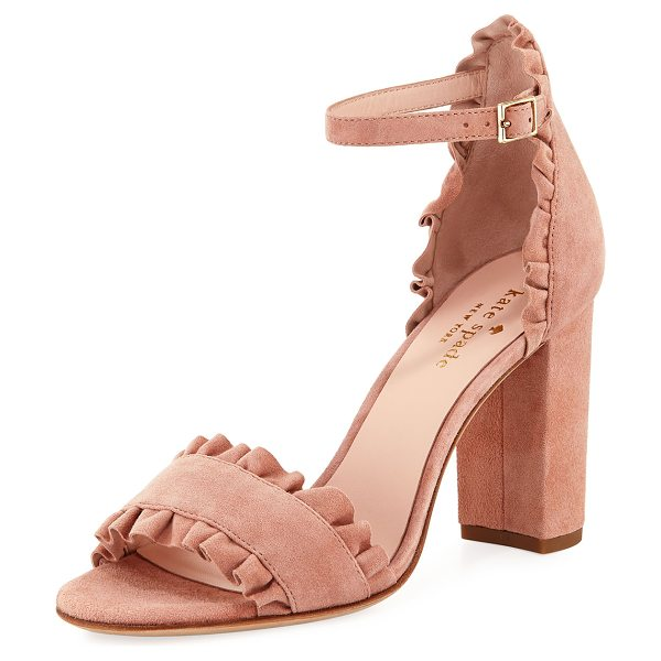 Kate Spade New York odele suede ruffle city sandal in blush - kate spade new york suede city sandal with ruffle trim....