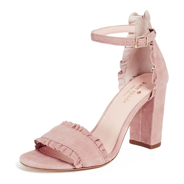 Kate Spade New York odelle block heel sandals in dusty blush - Leather: Kidskin Ruffles Pumps Chunky heel Buckle at...