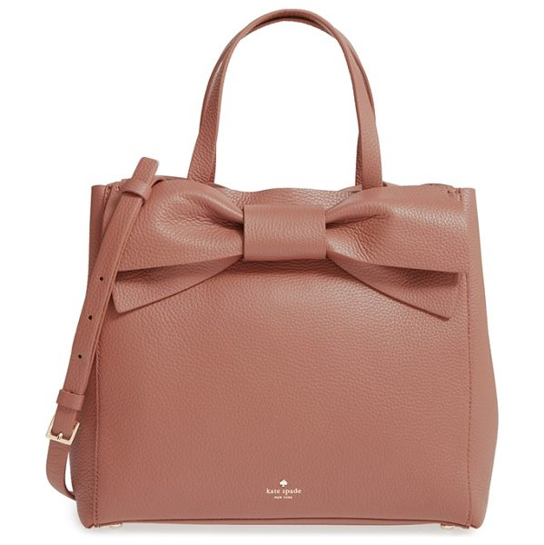 Kate Spade New York olive drive brigette leather satchel in rustic toffee - An oversized bow adds vintage cosmopolitan charm to a...