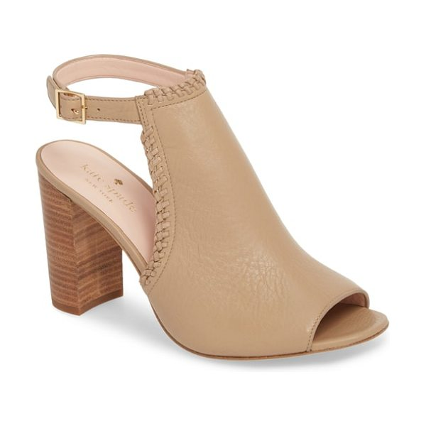 Kate Spade New York orelene block heel sandal in pale taupe - Whipstitched detailing lends a touch of vintage-Western...
