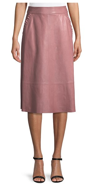 """Kate Spade New York pacey a-line lamb leather skirt in rose - kate spade new york """"pacey"""" skirt. Front ruffle trim..."""
