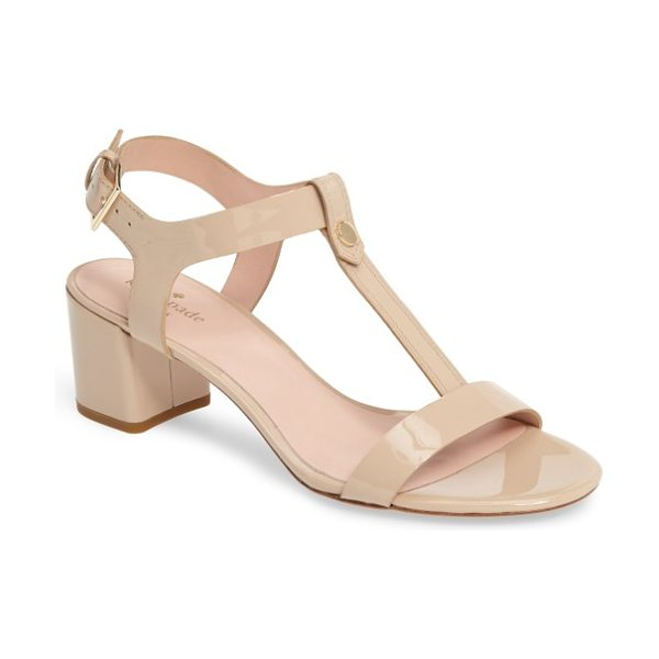 Kate Spade New York panama sandal in pale blush patent - Glossy patent leather and a chic (and walkable) block...