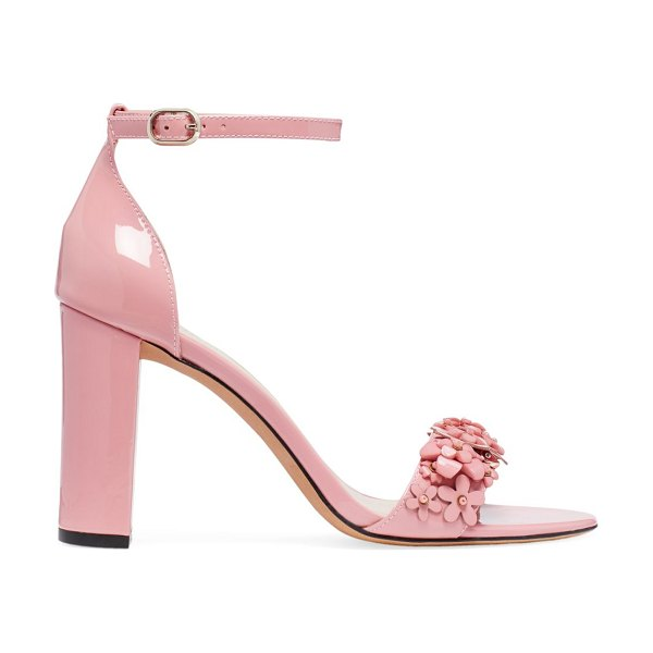 Kate Spade New York paradisi floral-beaded patent leather sandals in pink