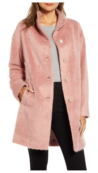 Kate Spade New York pearly button fuzzy coat in pink