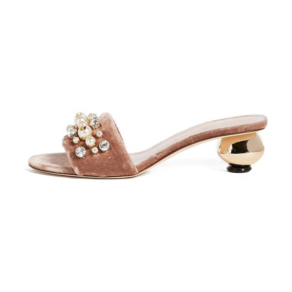 Kate Spade New York penrose gold ball heel city sandals in fawn - A round, mirrored heel lends a glamorous touch to these...