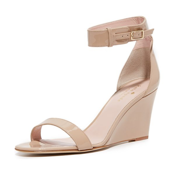 Kate Spade New York ronia wedge sandals in powder - Streamlined Kate Spade New York wedges in glossy patent...