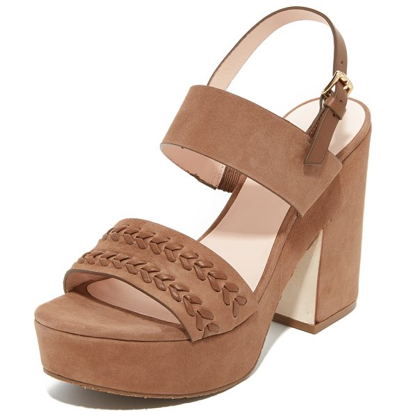 Kate Spade New York Rosa sandals in tobacco - Woven detailing accents the vamp on these luxe suede...