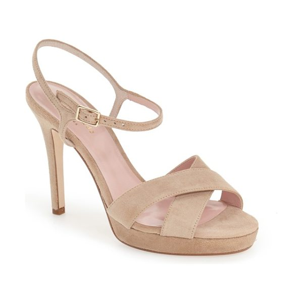 Kate Spade New York rosemarie sandal in light camel suede - A slim and delicate ankle strap enhances the elegant...