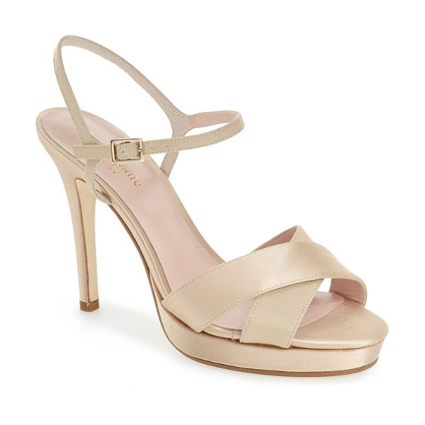 Kate Spade New York rosemarie sandal in champagne satin - A slim and delicate ankle strap enhances the elegant...