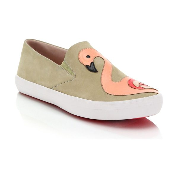 Kate Spade New York Selma flamingo-paneled leather slip-on sneakers in beige - An artful flamingo paneled motif splashes these cool...